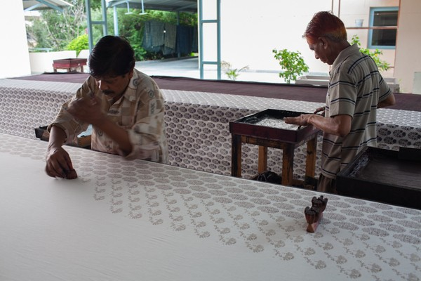 Handprinting at Anokhi Museum in Jaipur