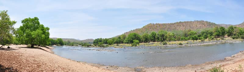 Panoramic view of the Kaveri at Bheemeshwari