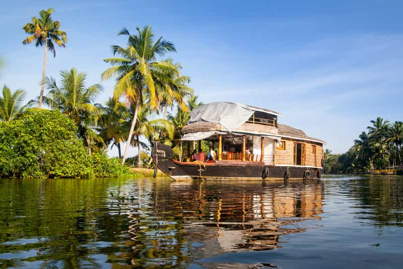 Traditional Indian houseboat in Alleppey