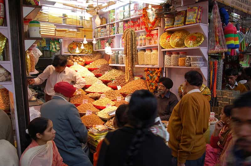 A chaat stall at Chandni Chowk