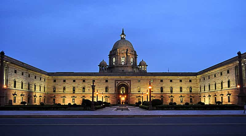 Rashtrapati Bhavan at night