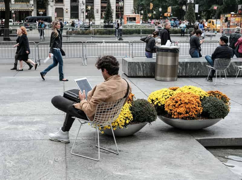 Traveler Using Tablet