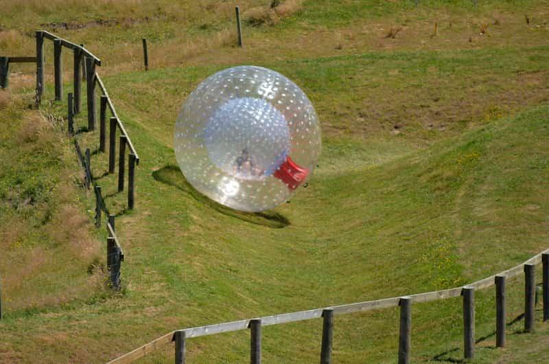 A Zorb ball going downhill