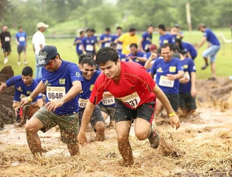 A patron on a gruelling track of the Mud Rush