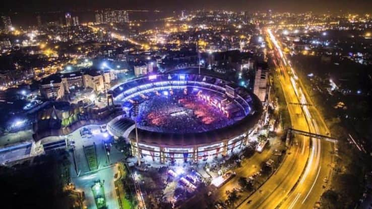 Aerial view of the stadium hosting a concert at night