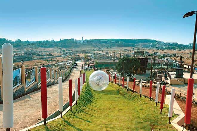 Zorbing, an activity available at Della adventures