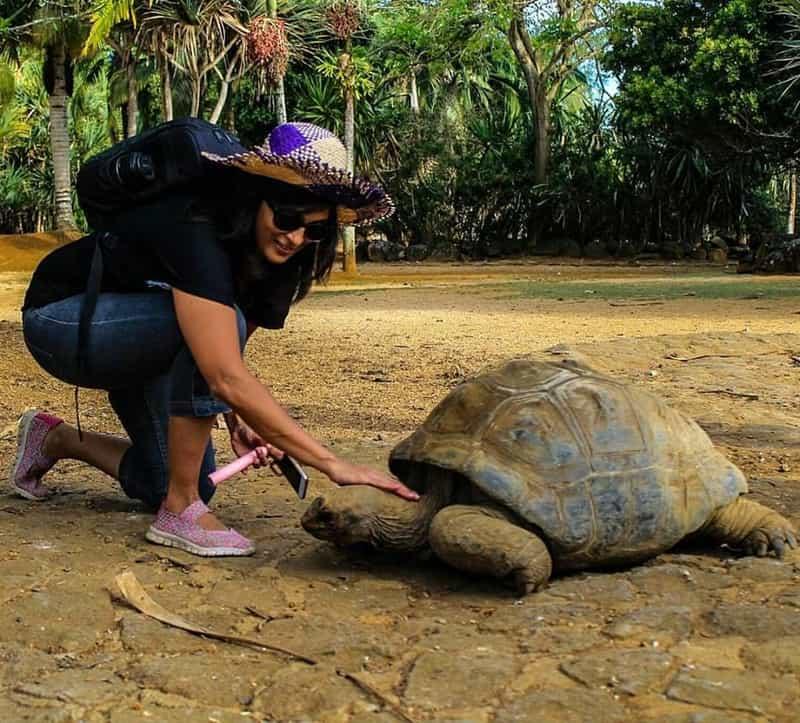 Ami petting a tortoise in Mauritius