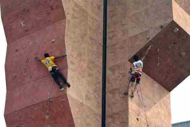 Climbers practicing at the artificial wall