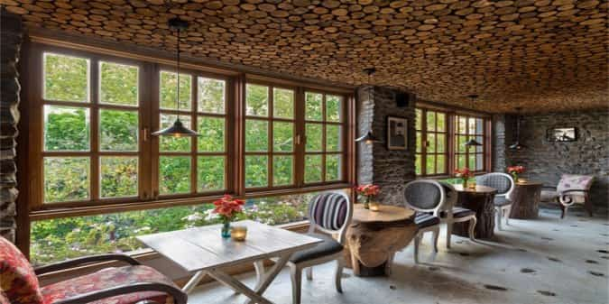 The interiors glow with a welcoming warmth at Music & Mountain's