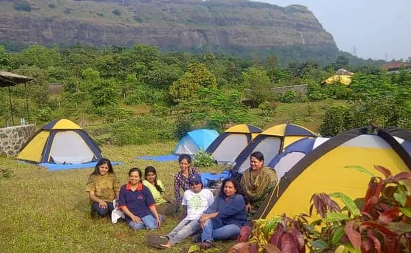 Camp by the river at Ulhas Valley