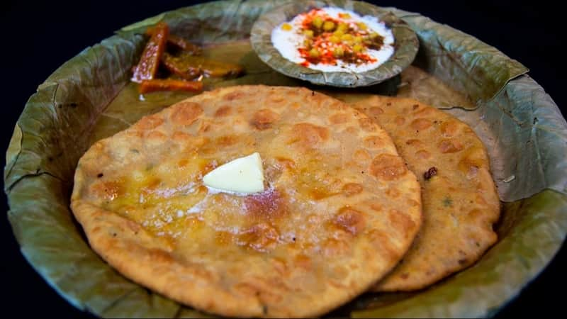 Paranthe, served with a dollop of butter