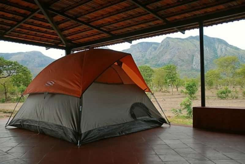 The tent overlooking the Nilgiri Mountain range