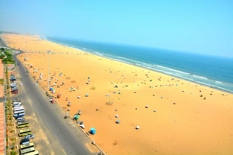 Marina Beach is famous for its stunning views and clean surroundings