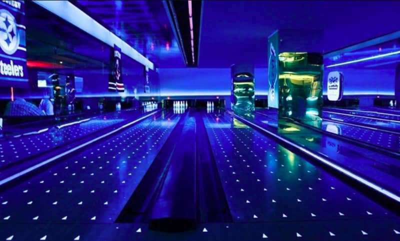 The bowling alley at Rush Sports Bar