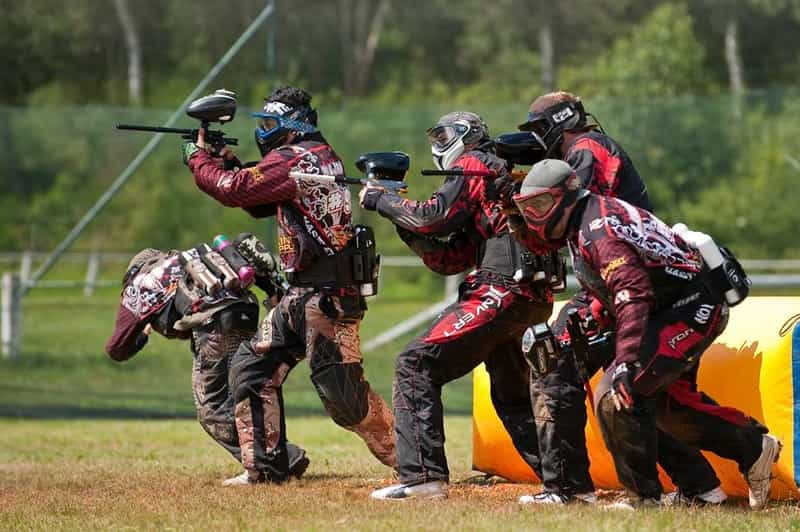 A group of youngsters enjoying Paintball