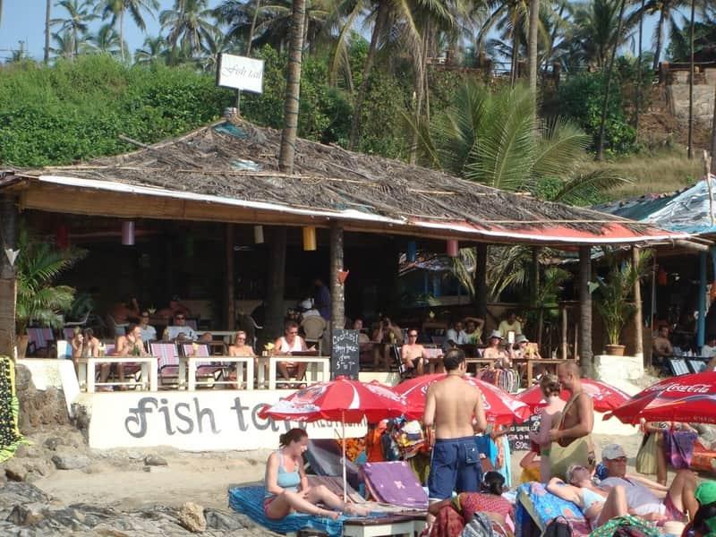 A popular beach restaurant at the Vagator Beach