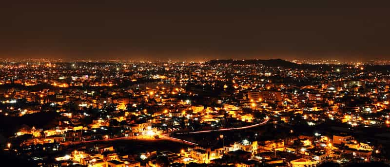 A view of Hyderabad at night