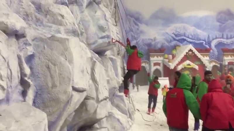 An indoor snow park