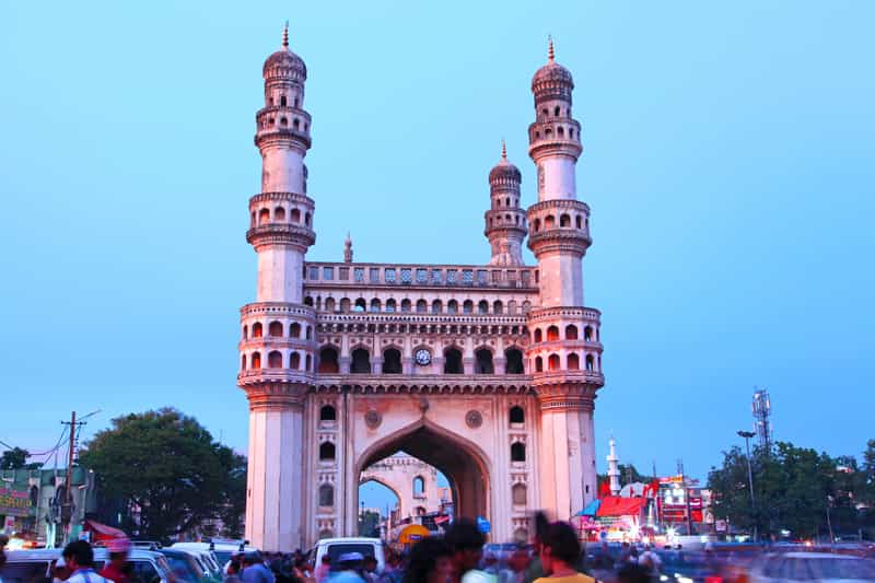 Charminar is a historic monument in Hyderabad