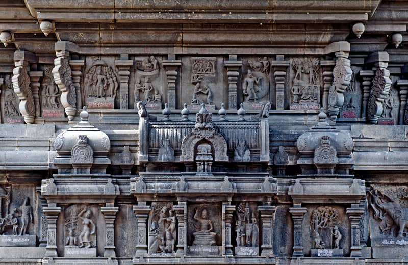 See beautiful bas relief carvings at the Valluvar Kottam Monument
