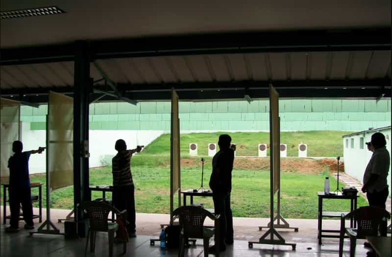 Shooting at a range in SAAP Hyderabad