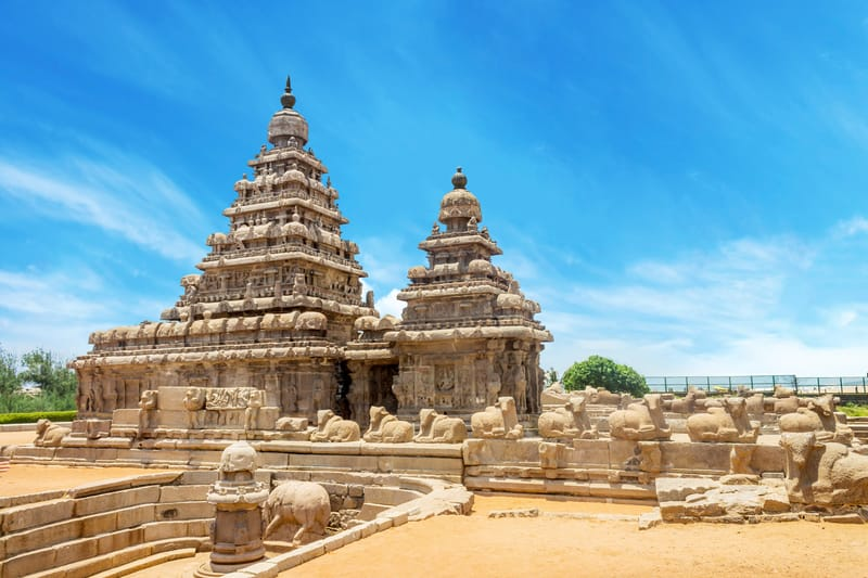 Shore Temple, a UNESCO World Heritage Site at Mahabalipuram
