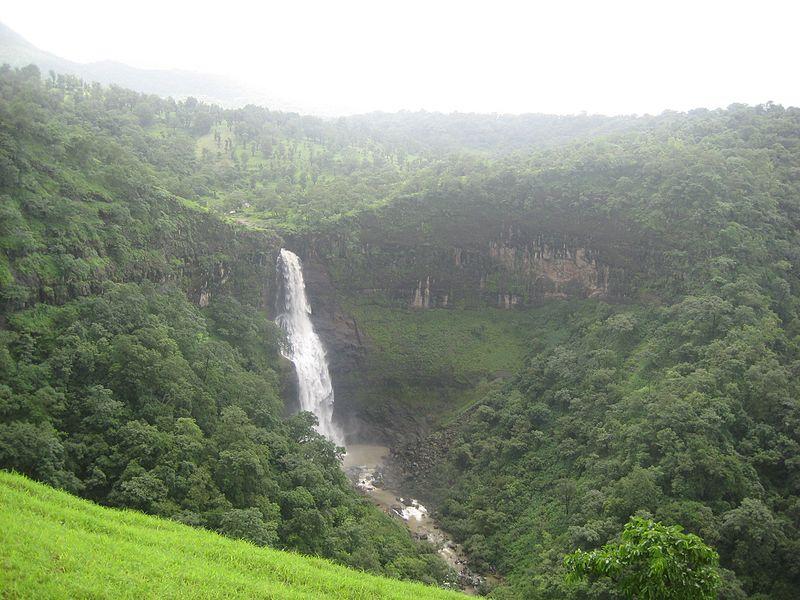 Stunning View of the Dugarwadi Waterfalls among the Greenery