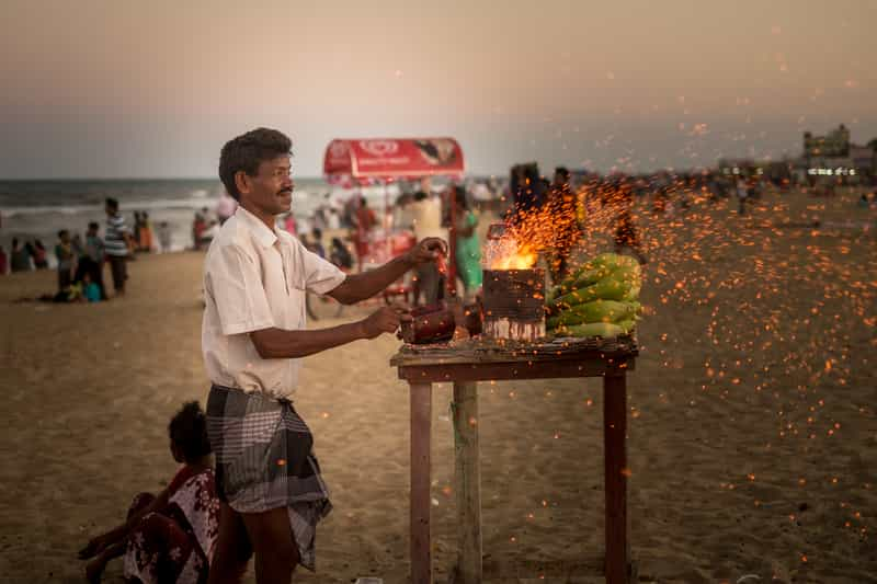 The Besant Nagar Beach in Chennai