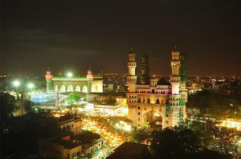 The Charminar is lit up beautifully at night