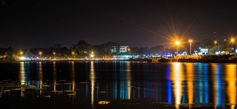 The Futala Lake at night