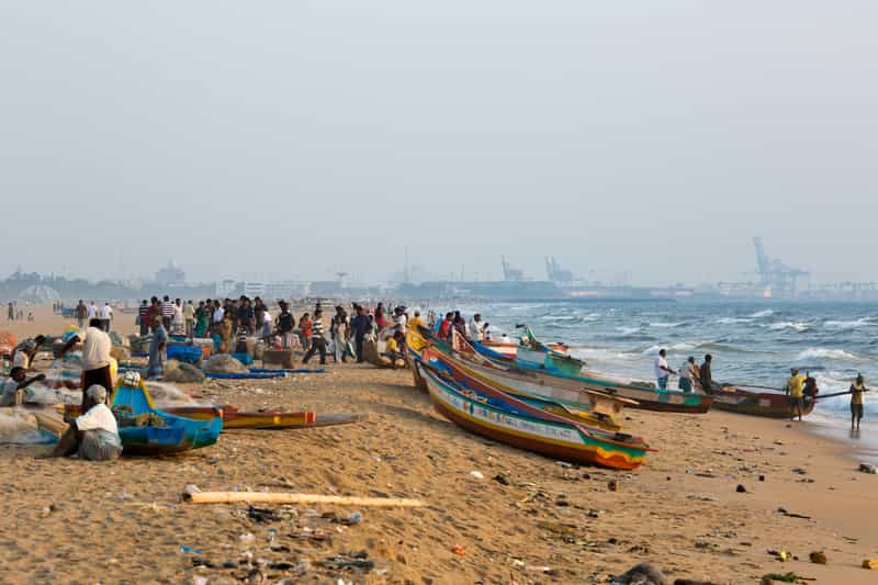 The Marina Beach in Chennai