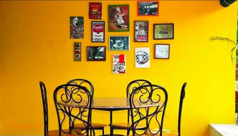 The seating arrangement and decor of Truffles cafe