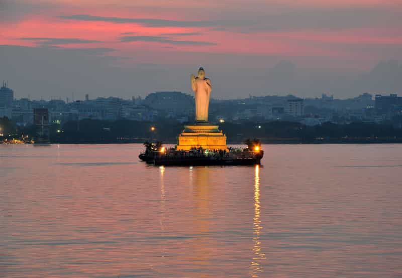 The splendid Buddha statue at the Hussain Sagar Lake