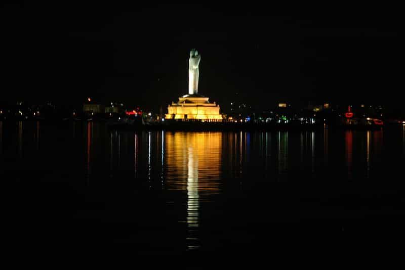 The view of the Hussain Sagar Lake is mesmerizing