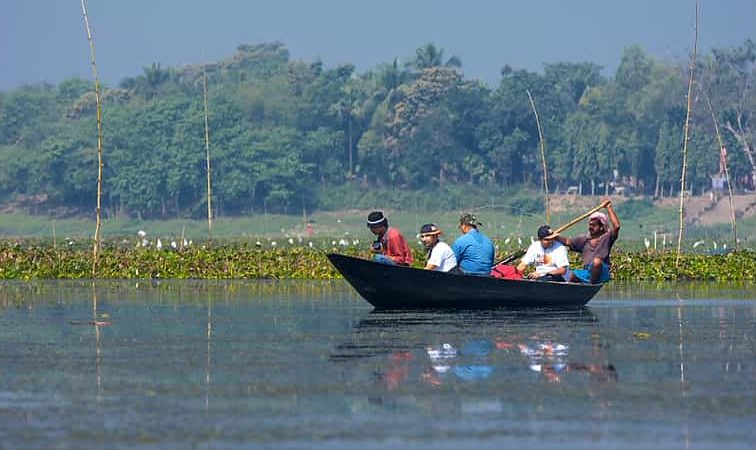 Bird watching on the lake in Navadvipa
