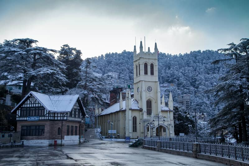 Snow covered hills near Shimla