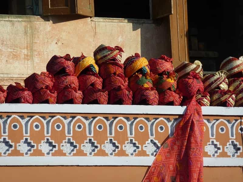 Traditional Turbans at a Market in Jaipur