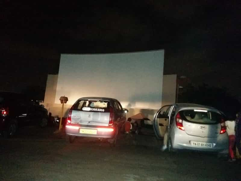 A drive in theatre by the beach