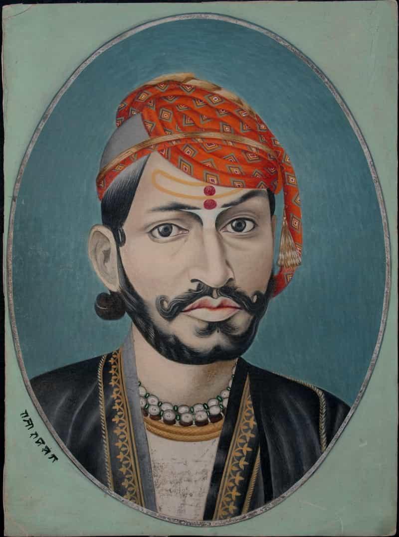 A portrait of Maharaja Sawai Ram Singh II