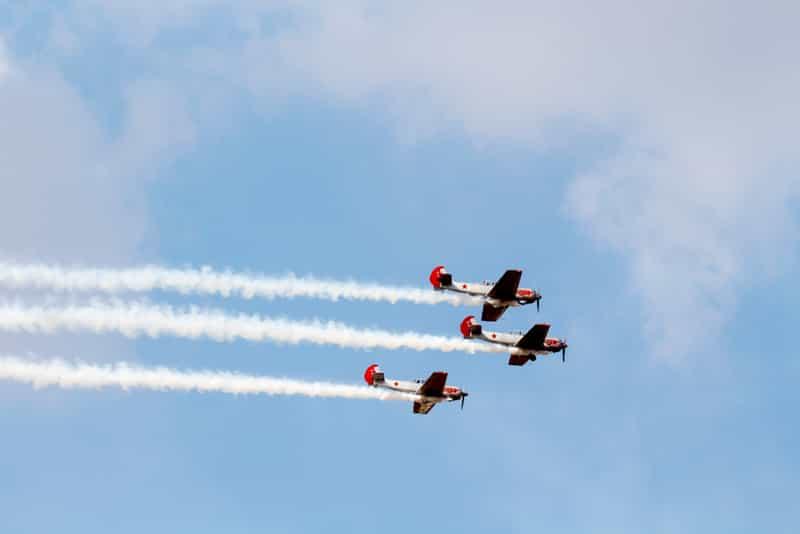 Aircraft flying in formation at Yelahanka