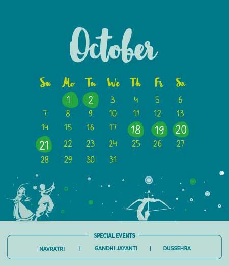 Long Weekends in October 2018
