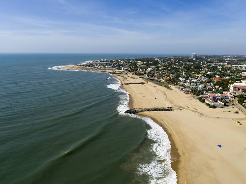 Aerial Shot of East Coast Road Seashore Chennai