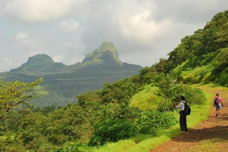 A trekker climbing up the Rajmachi Fort