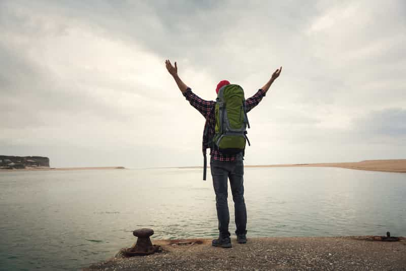 Traveler Showing Gratitude