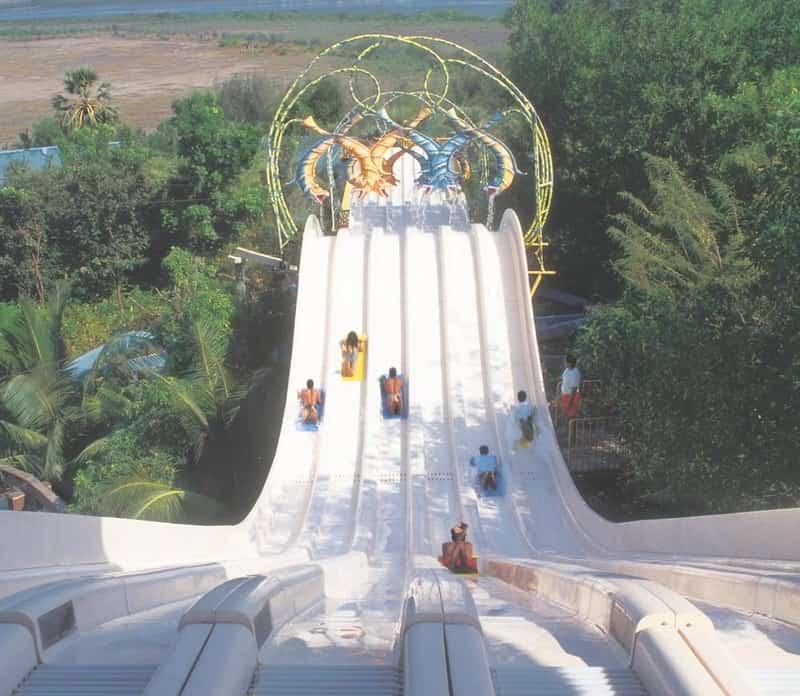 Visitors enjoy the water slides at Water Kingdom