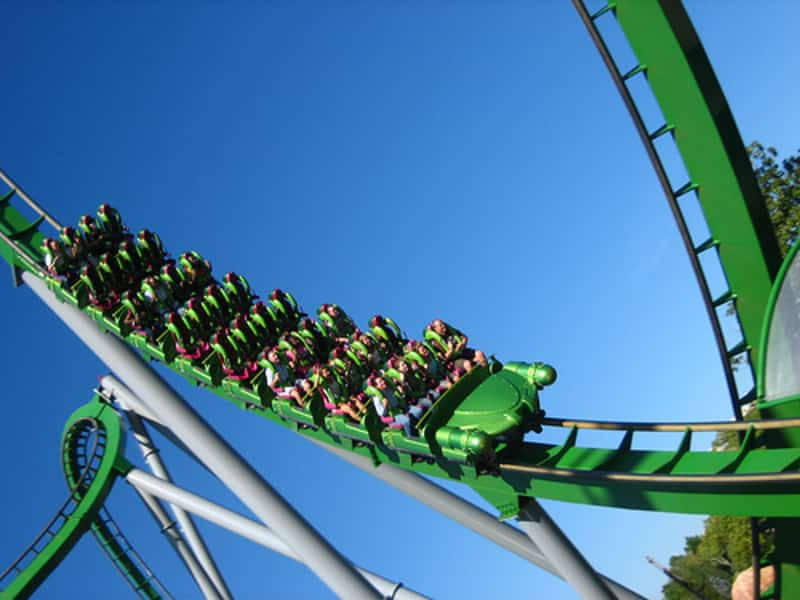 Visitors enjoying a thrilling ride at Essel World