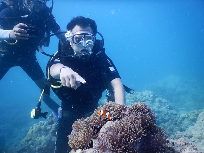 A snorkelling patron with his instructor