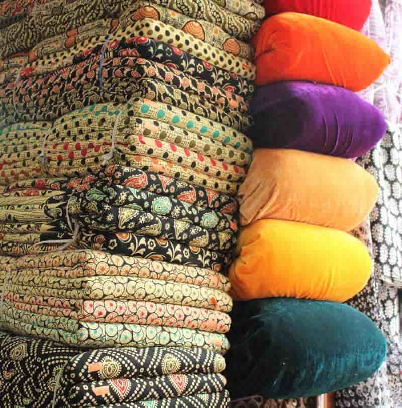 Colourful cotton fabrics at Shanti Mohalla Market