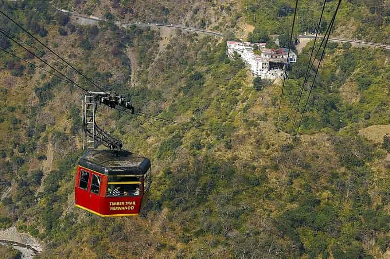 Enjoy stunning views of the hills from a cable car in Parwanoo