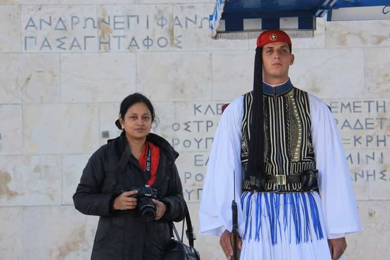 Indrani posing with a Greek Guard at Syntagma Square, Greece